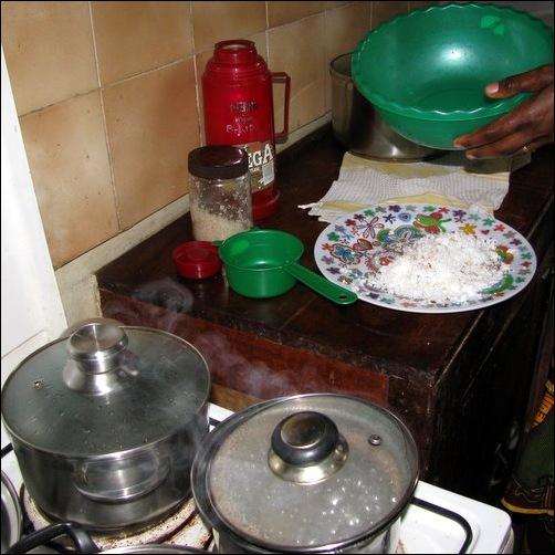 making coconut milk, step 1