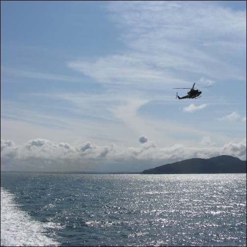 Helicopter approaching ferry